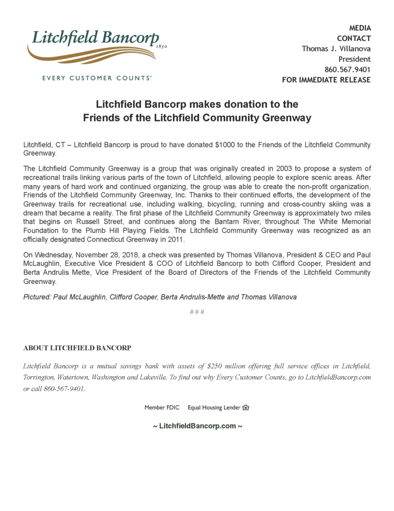 LBCFriends of Litchfield Community Greenway donation5162